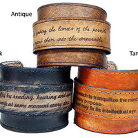 Personalized Leather Cuff (Adjustable & Distressed)