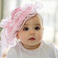 baby girl hat,  pink and other colors, frilly and soft, - wedding flower girl, baby shower gift, tea parties, photo prop