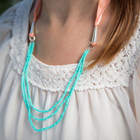 Turquoise Beaded Chunky Coral Ribbon Neklace