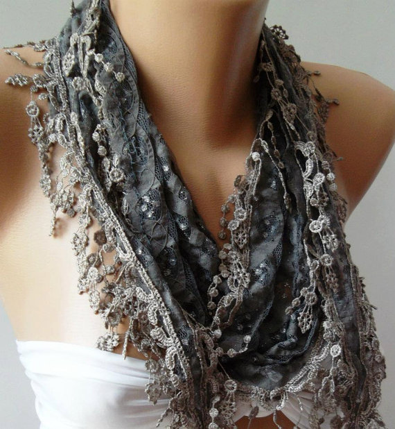 Grey / Elegant  Shawl /Scarf.... with Lacy Edge