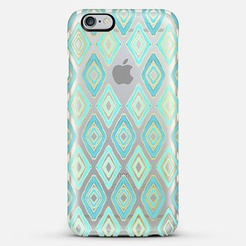 Turquoise Tribal Diamonds on Transparent iPhone 6 Plus case by Micklyn Le Feuvre | Casetify