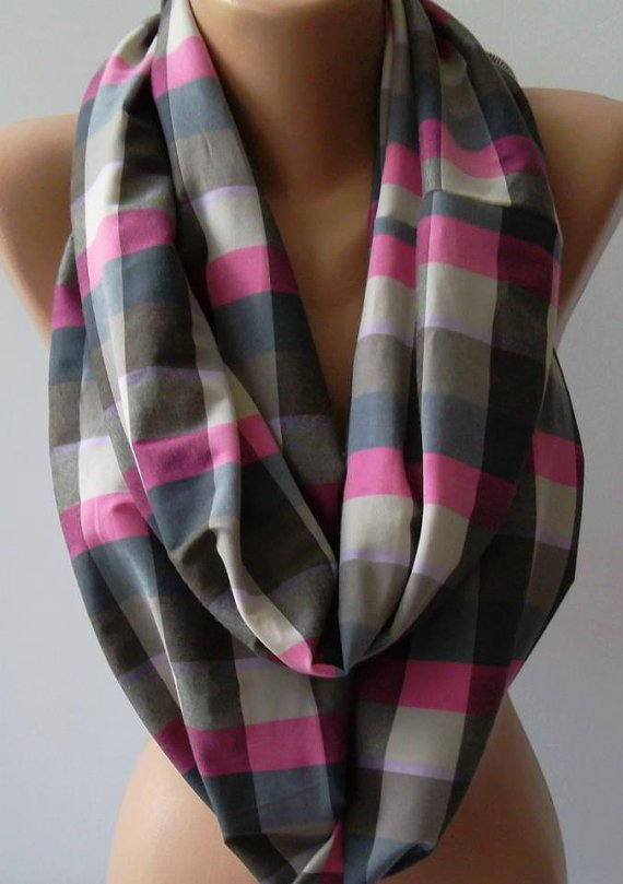 Dance of the Colors Collection - Plaid - Infinity - Loop - Circle - Elegant - Feminine - Summer - Shawl - Scarf