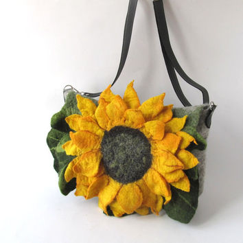 Felted handbag green sunflower yellow