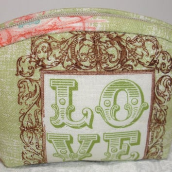 Coin Purse Quilt Zipper Pouch Wallet - Green, Pink, Brown - Love, Heart Charm