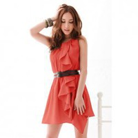 Elegant Round Neck Flouncing Embellished Solid Color Polyester Dress For Women (Without Belt)