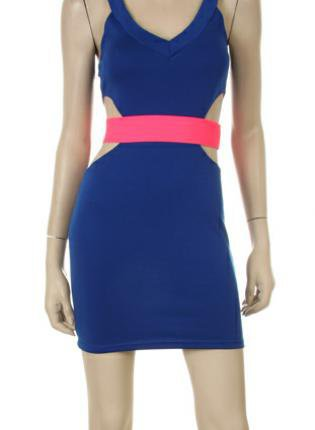 Blue Tank V-Neck Dress with Waist Cutouts& Pink Neon Band