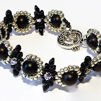 Beadwork black, silver and crystal bead bracelet with pearly beads