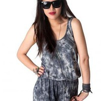 Tie Dye Heather Gray Tank Romper