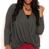 Plus Size Long Sleeve Twist Front Knit Top