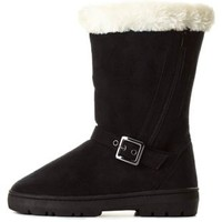 Side-Zipper Mid-Calf Shearling Boots by Charlotte Russe - Black