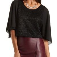 Lace & Chiffon Angel Sleeve Crop Top by Charlotte Russe - Black