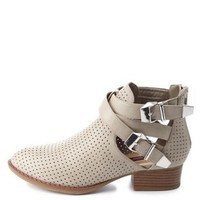 Dollhouse Perforated Cut-Out Ankle Boots by Charlotte Russe - Stone