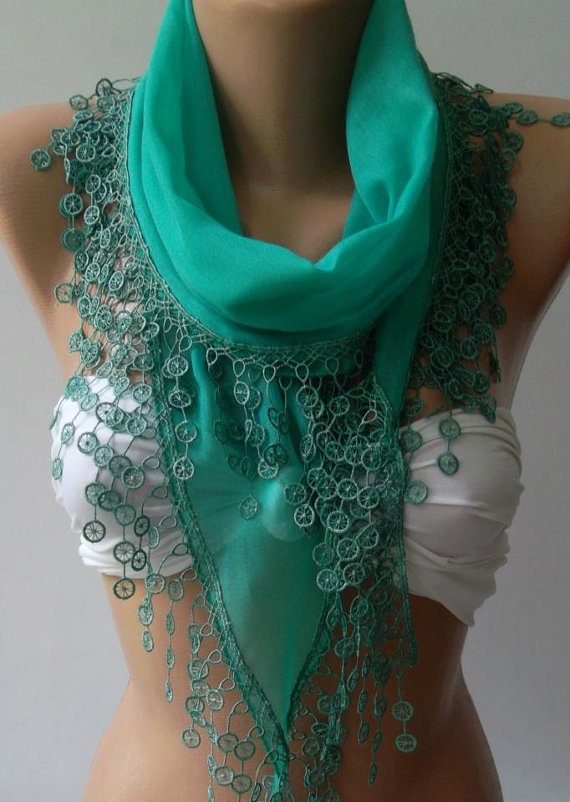 Nile Green - Cotton/ Traditional Turkish fabric / Anatolian Shawl/Scarf...