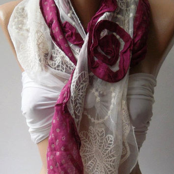Fuchsia  Roses/Elegant - Shawl / Scarf with Lace Edge