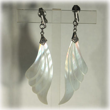 Mother of Pearl Angel Wing Dangle Earrings MOP Feather