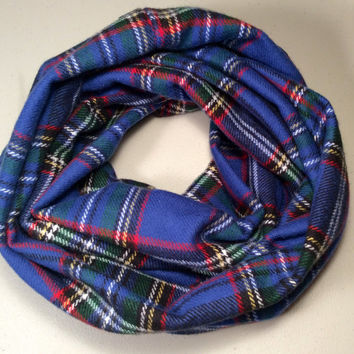Handmade Infinity Scarf Plaid Flannel, Child, Kid Size, Super Warm Double Layer.  Royal Blue Tartan - Christmas Holiday Gift