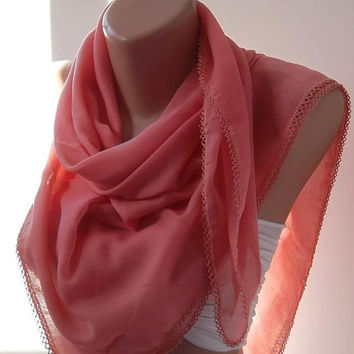 Pink /  Anatolians  fabric......Pink Shawl/ Scarf....Very Soft cotton fabric.