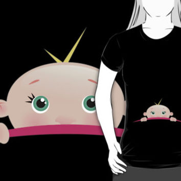 Hilarious and Cute Peek-A-Boo Baby Maternity T-Shirt