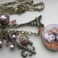 Vintage French Lady Locket  Pink and Bronze Chunky Charm Necklace A Birthday Gift for Her