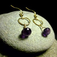Amethyst Briolette Earrings with Gold Filled Wire