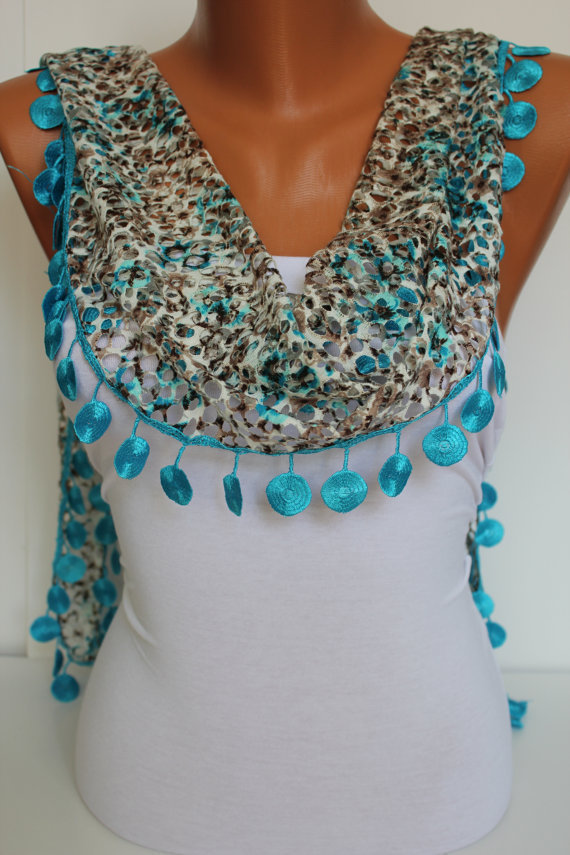 Woman Shawl Scarf - Headband -with circle Lace Edge - Trending Summer