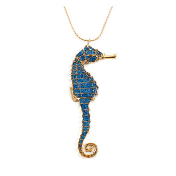 Seahorse Pendant Necklace - Nautical Jewelry - Deep Blue Millefiori Pattern - FREE SHIPPING
