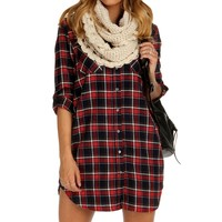 Red Classic Plaid Tunic