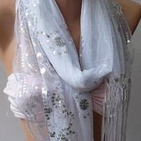 White /Elegant Shawl / Scarf with Lace Edge.