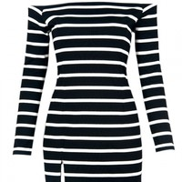 Choies Design Stripe Bodycon Off Shoulder Dress With Long Sleeves - Choies.com