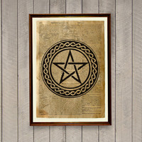 Occult decor Pentagram print Magic circle poster