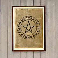 Pentacle poster Occult print Magic circle decor