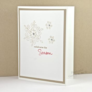 Handmade Winter Season Greeting Card With Soft Snowflakes Suede White