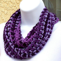 Infinity Moebius Scarf, spiral crocheted - Violet Shadows, from Jan4insight on Zibbet