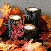 Tree Branch Candle Holders, Rustic wood candle holders sticks, Wooden Candle Holders (Set of 3)