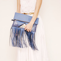 CARRIER 37  / Large leather fringed  fold over daily clutch bag -  Ready to Ship