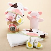 Farmhouse Friends Bath Bucket - Includes Cow Towel, Piggy Washmit & Ducky Slippers