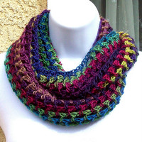 Infinity Moebius Scarf, spiral crocheted in Autumn Jeweltone colors by Jan4insight
