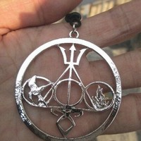 Ultimate FAN Combo Necklace Harry Potter , the Mortal Instruments, Divergent and Percy Jackson Silver