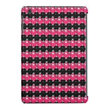 Silver Jeweled Gem, Pink-Black-iPad Mini Case