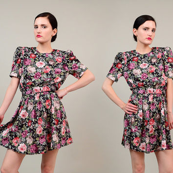 70s does 40s Floral Bloused Secretary Puff Sleeve 1970s Boho High Waist Belted Mini Skirt Dress Small S
