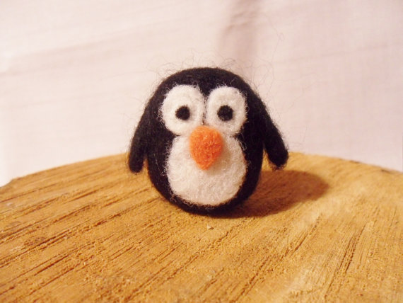 Miniature Needle Felted Penguin -  tiny pocket penguin figure - 100% merino wool