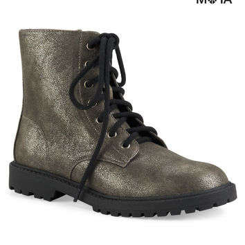 Aeropostale Shimmer Combat Boot - Silver,