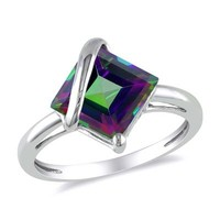 Princess-Cut Mystic Fire® Topaz Overlay Ring in 10K White Gold