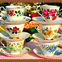 Shabby Chic Stacked Tea Cups Digital Art