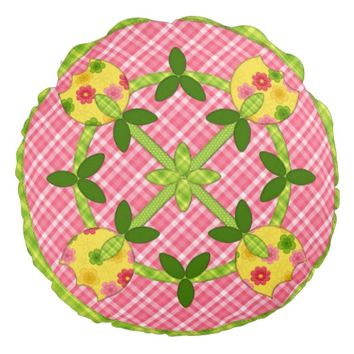 Applique Tulips Round Pillow, Pink-Green