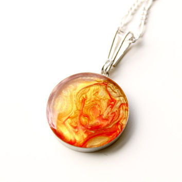 Sterling Silver Round Pendant Necklace, Hand-painted in Red and Yellow Pendant, Resin Sterling Silver Pendant, Sunny colors Necklace, Gift