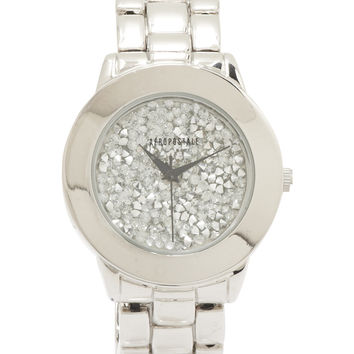 Aeropostale Glitzy Metal Stretch Watch - Silver, One