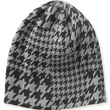 Aeropostale Houndstooth Reversible Beanie - Med Heather Grey, One