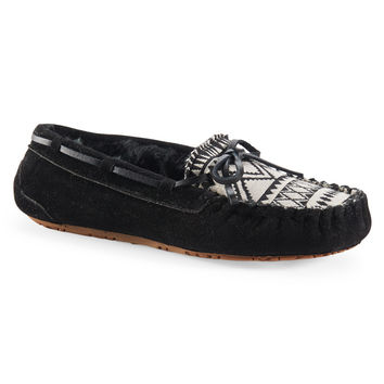 Aeropostale Southwestern Faux Suede Fur-Lined Moccasin - Black,