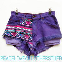 "Re-worked Vintage Lee Purple Tribal Print High Waisted Shorts - Size 28""W"